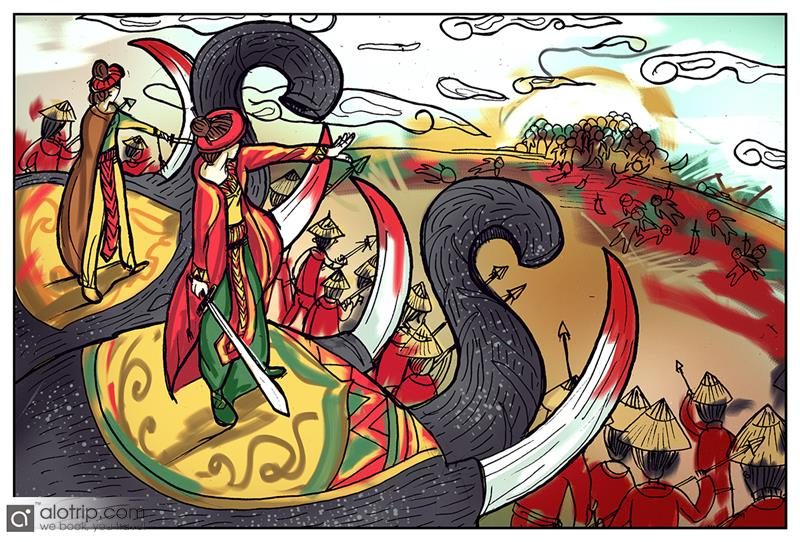 Trung Sisters in battle against Nam Han soldiers