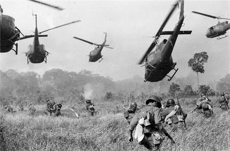 U.S. Army helicopters attacks a Viet Cong camp