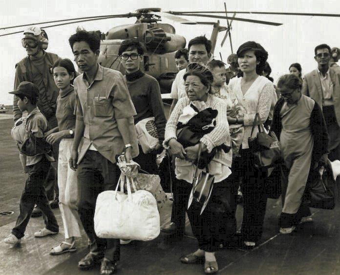 Vietnamese refugees on US carrier