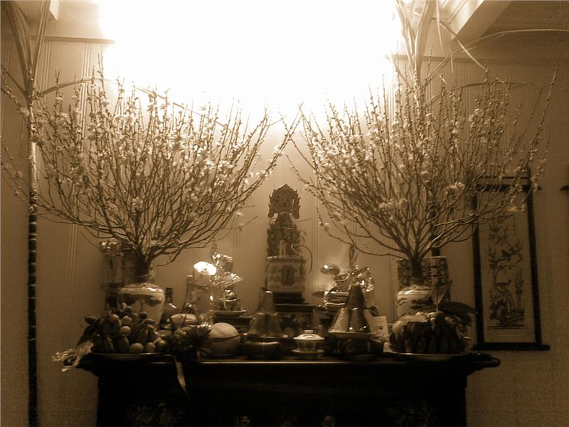 Ancestors Altar in North Vietnam Tet Holiday