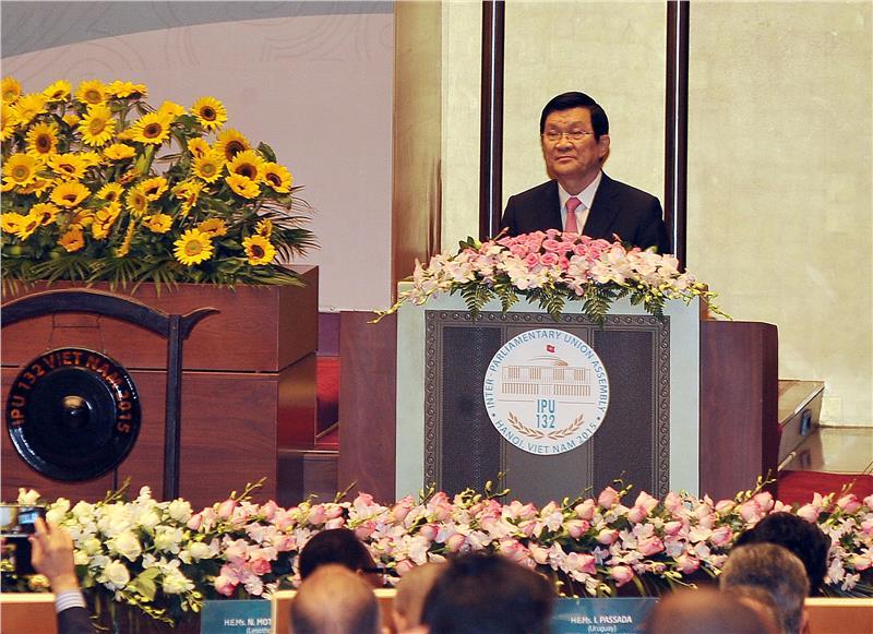President Truong Tan San speaks at IPU 132