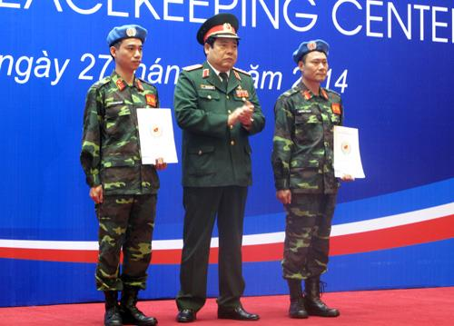 Two Vietnamese army officers in Vietnam Peacekeeping Centre