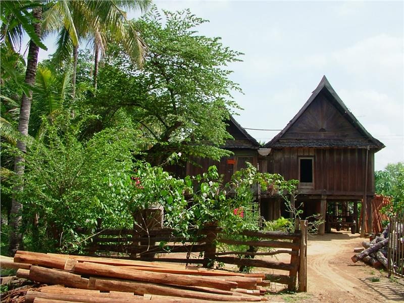 An old stilt house by Lao people in Ban Don, Central Highlands