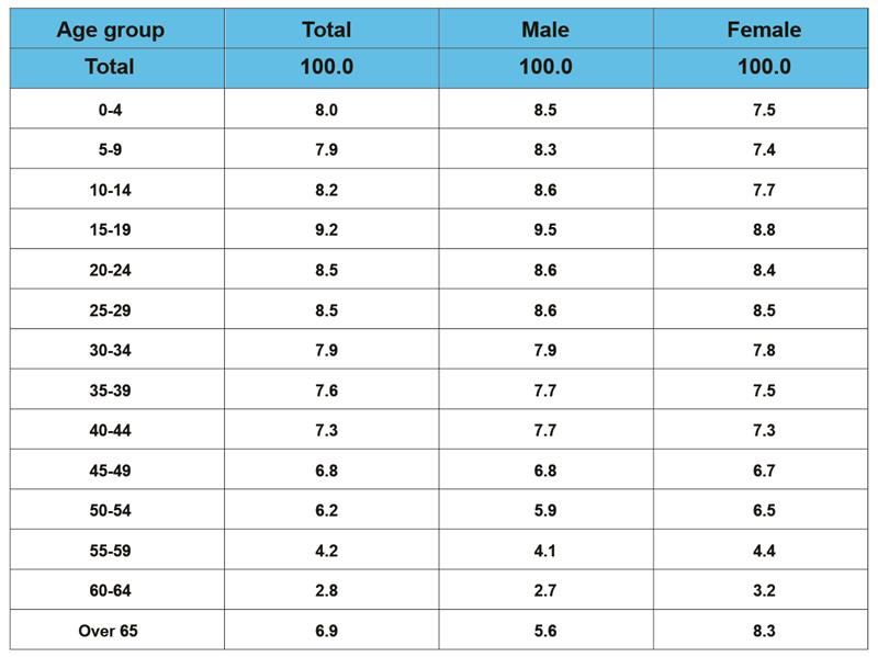 Population structure by gender and age group