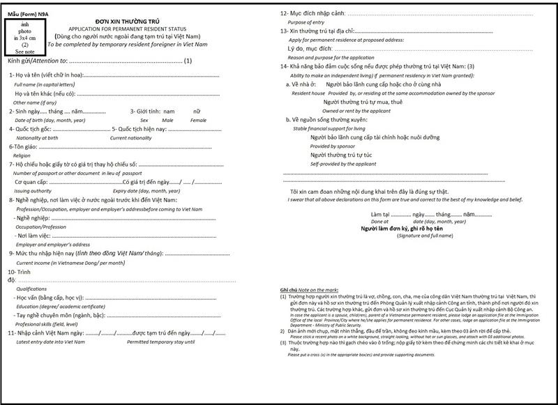 Vietnam permanent residence application form N9A