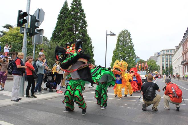 Vietnamese lion dance in the festival