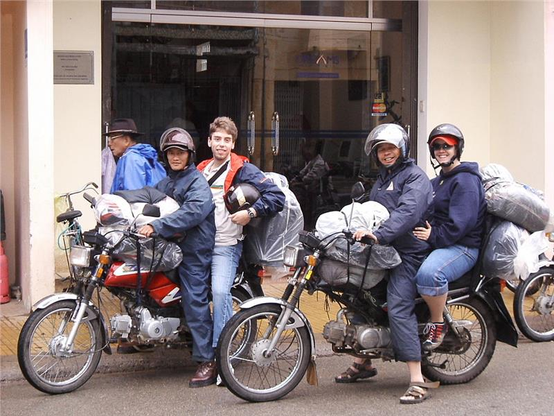 Tourists with Xe Om in Dalat