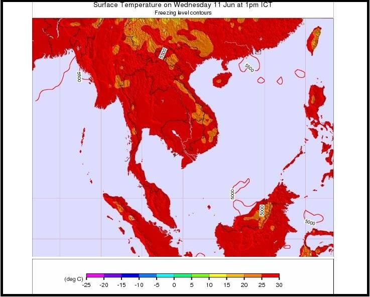 Surface Temperature on a random day in Vietnam