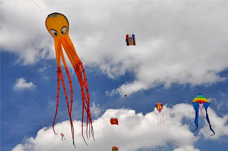 Colorful kites in the International Kite Festival 2014